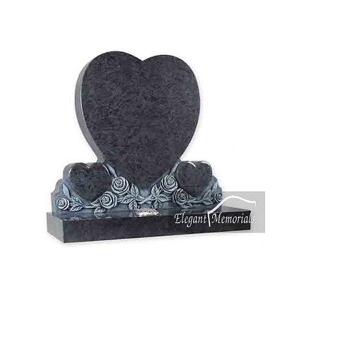 The Hampshire Heart Granite Headstone Bahama Blue