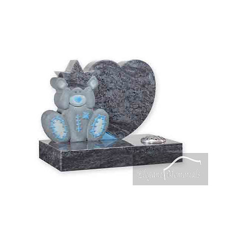 Rocky Bear Granite Headstone Bahama Blue