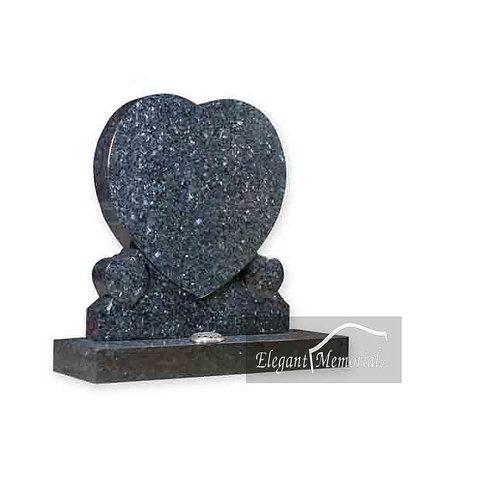 The Atlanta Heart Granite Headstone Blue Pearl