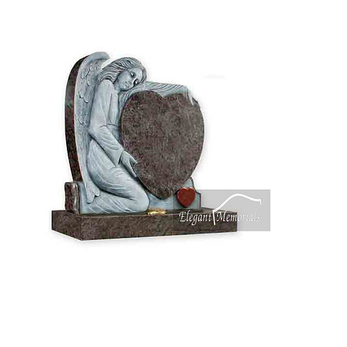 The Eden Granite Headstone Bahama Blue with a Ruby Red Heart