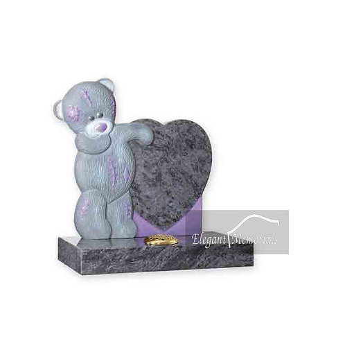 Ellie Bear Granite Headstone Bahama Blue