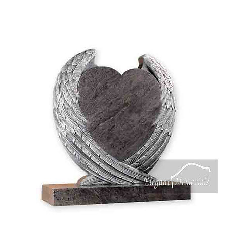 The Charlotte Heart Granite Headstone Bahama Blue