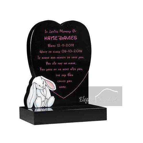 Lily Bunny Granite Headstone Black