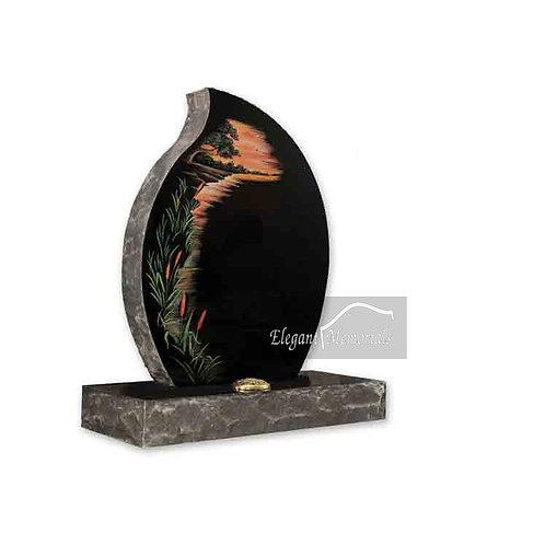 The Newton Granite Headstone Black