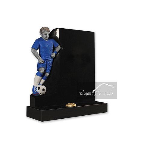 The Footballer Granite Headstone Black