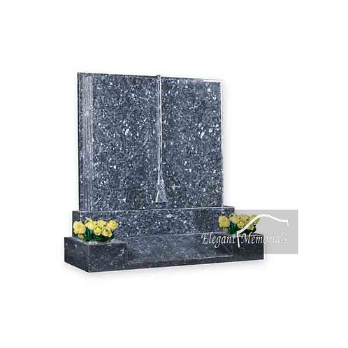 The Lawton Book Set Granite Headstone Blue Pearl