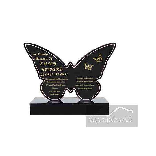 The Butterfly Granite Headstone Black