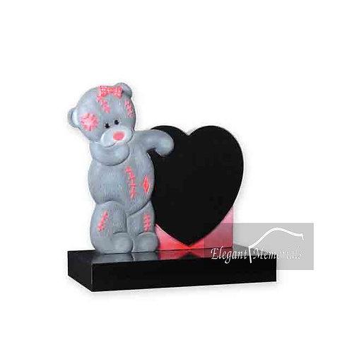 Penny Bear Granite Headstone Black