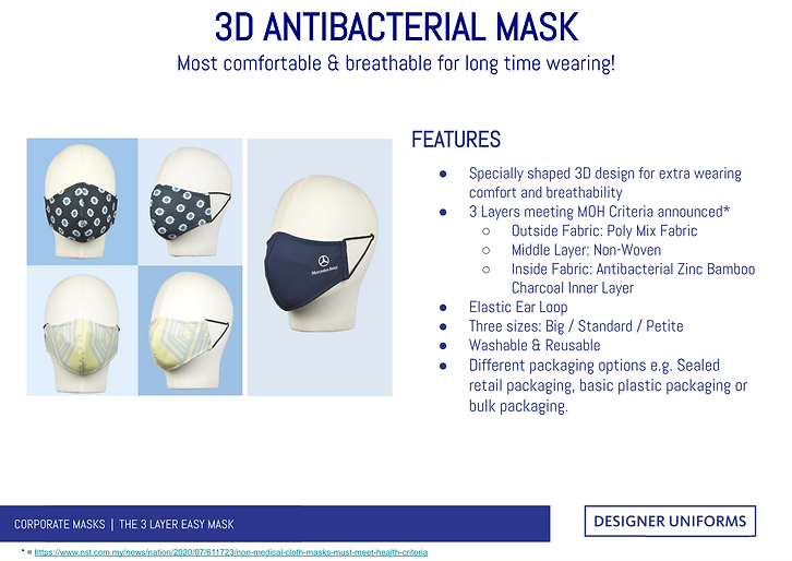 3D Antibacterial Face Masks for Companie