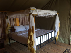 View inside platform tent