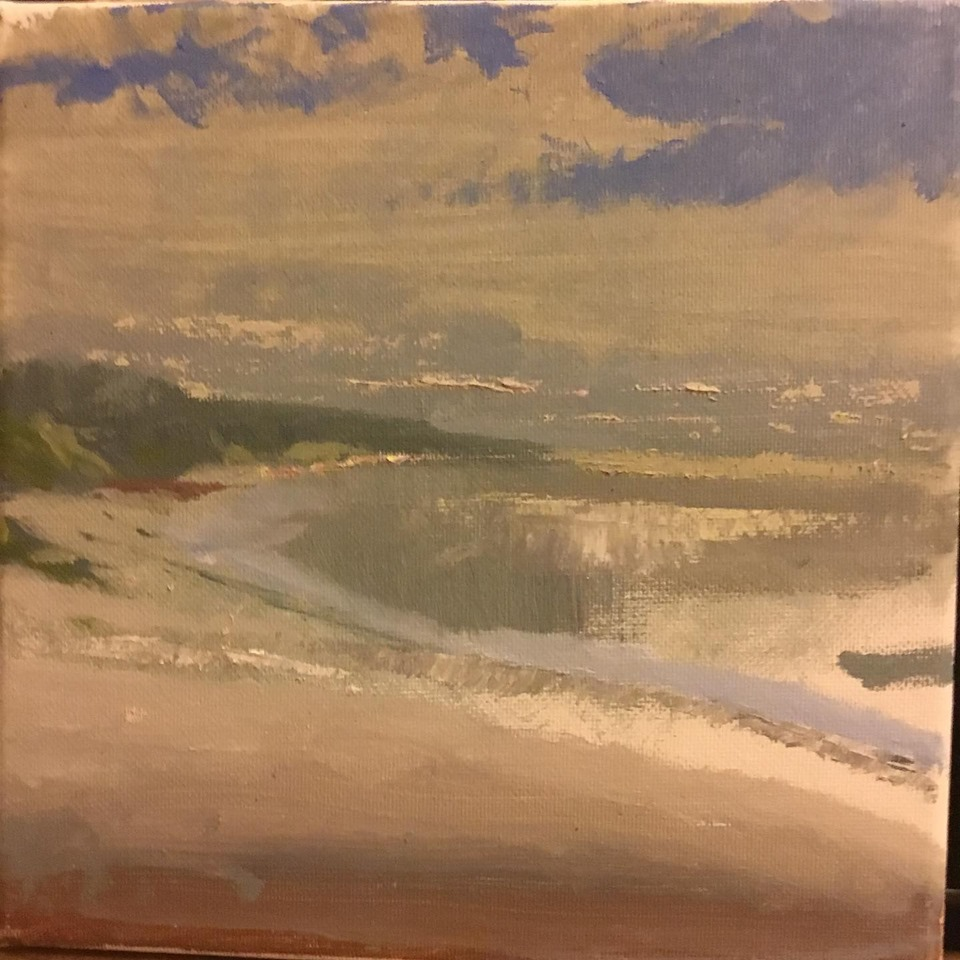 One Fine Day on Sammy's Beach 8x8 oil on