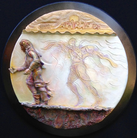 """Guardian Angel"", painted stoneware"
