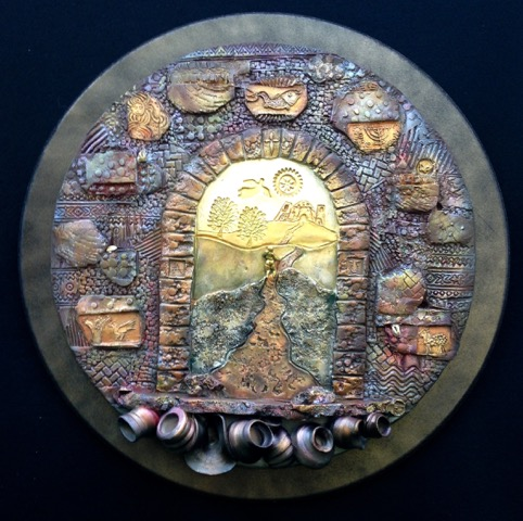 """Journey_of_Faith"",_painted_stoneware"