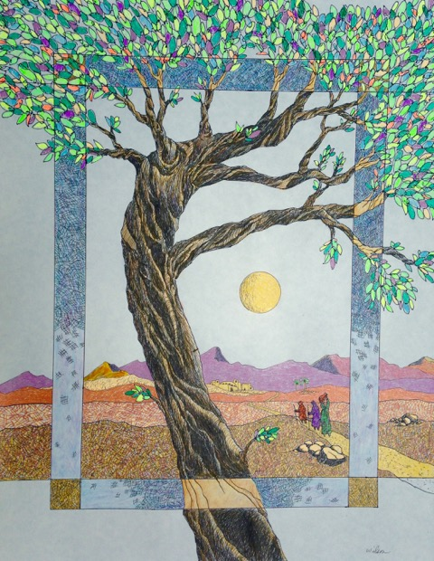 "On_the_Road_To_Emmaus""_and_is_pen_and_ink_with_colored_pencil"