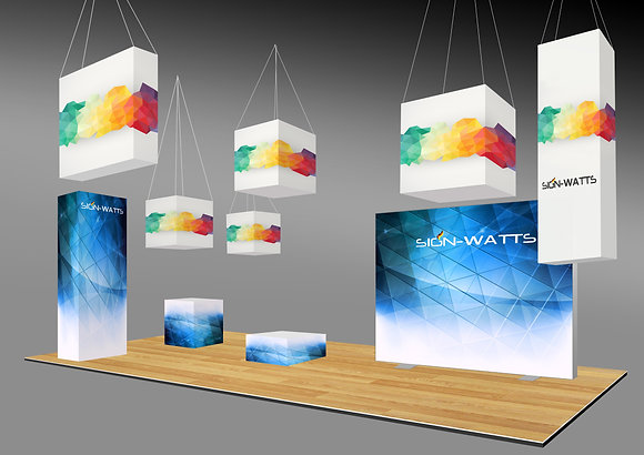 Hanging cubes booth