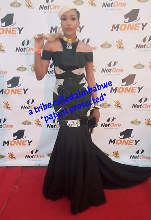Zana Ncube in custom A Tribe Called Zimbabwe Gown