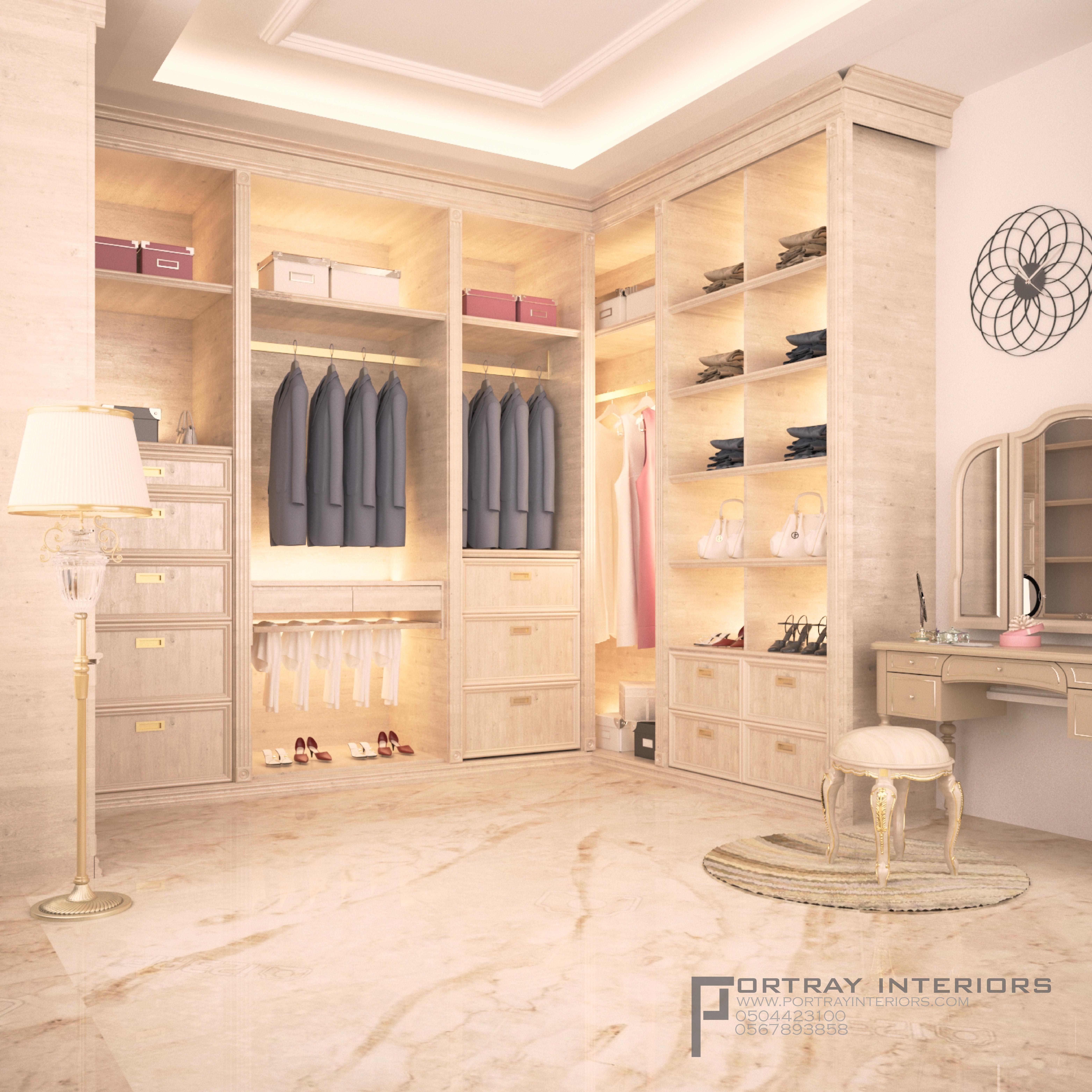 غرفة ملابس على الطراز الكلاسيكي