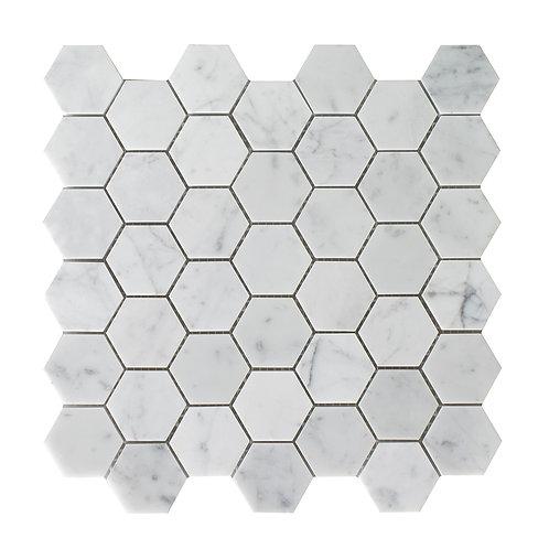 """2"""" Hexagon Carrara"""