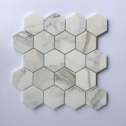 """3"""" Hexagon Calacatta Gold"""