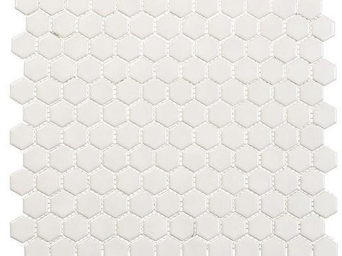 3/4 Off White Hexagon Glossy