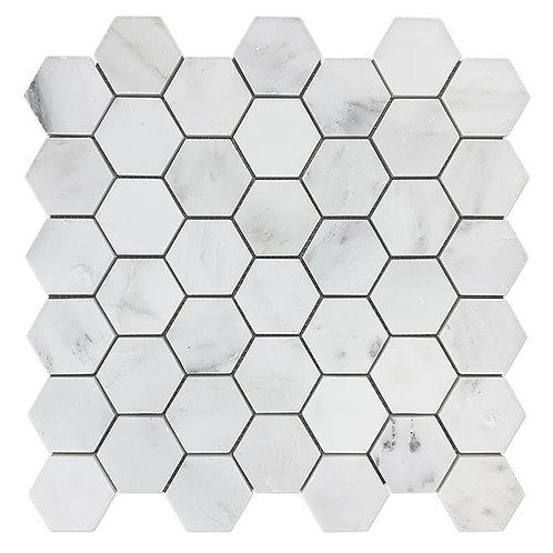 """2"""" Hexagon Eastern White"""