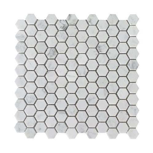 """1"""" Hexagon Carrara"""