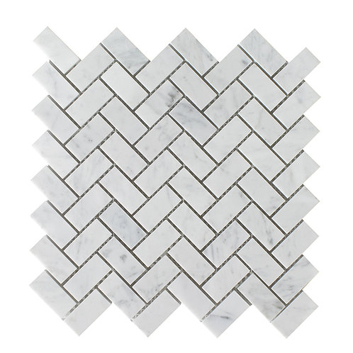 1x2 Herringbone Carrara