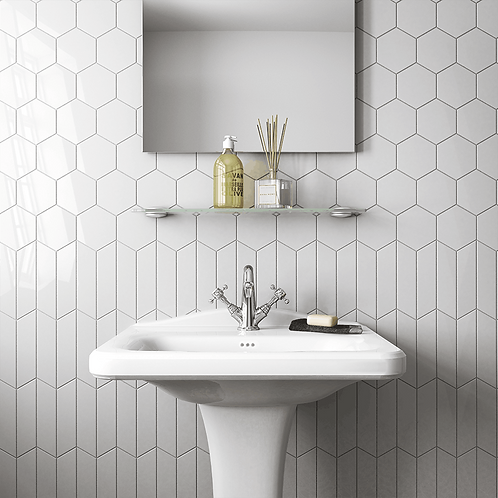 4x5 Bright White Hexagon