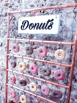 bar à donuts pipe industry wedding copper style