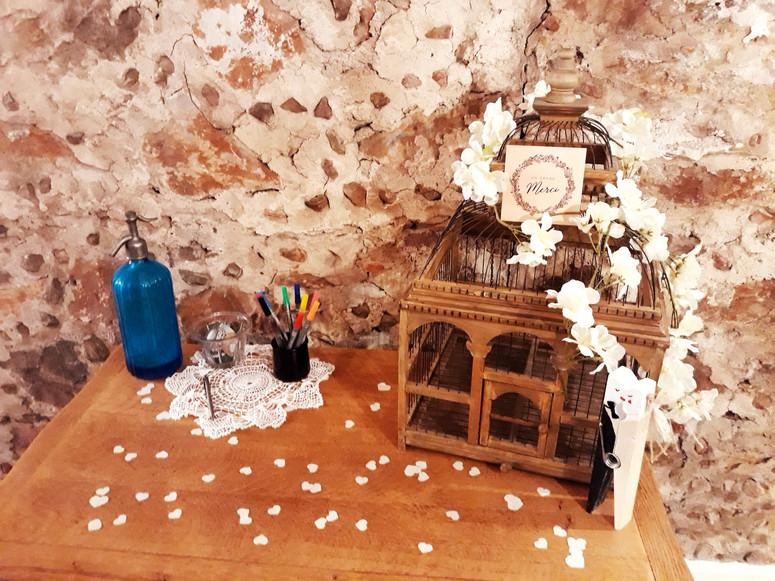 urne cage location signature salle  décoration decoration mariage wedding evenement perpignan pyrenees orientales 66 vintage deco de lo