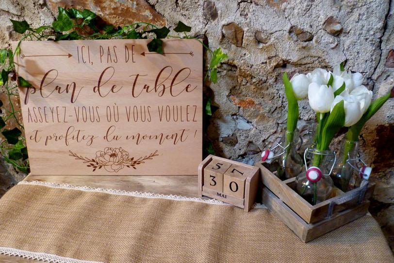 """Panneau """"pas de plan de table"""""""
