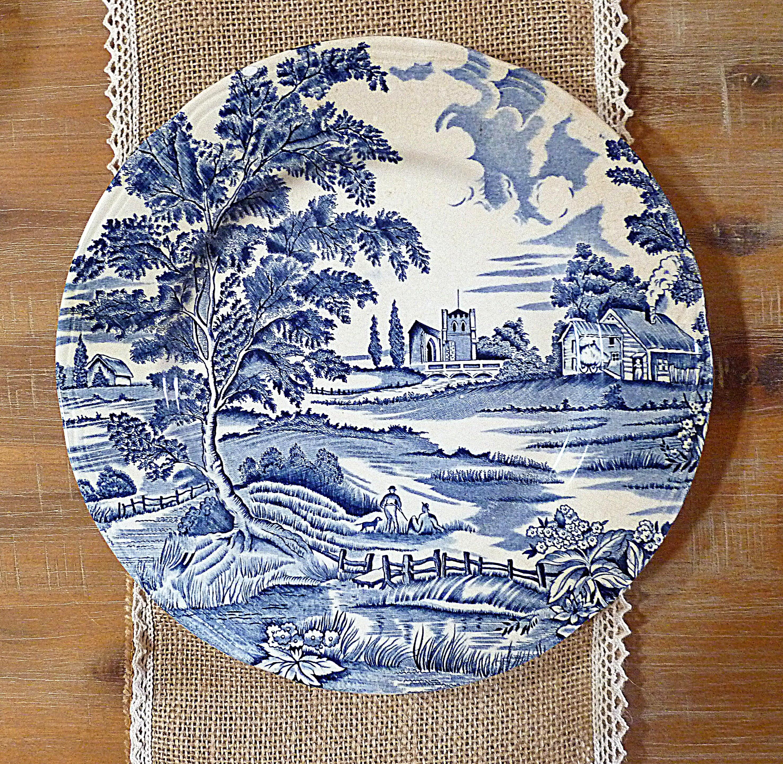 Assiette bleue campagne décoration