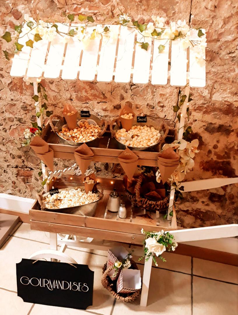 Charrette à Pop-corn candy bar location mariage anniversaire fête perpignan pyrénées orientales
