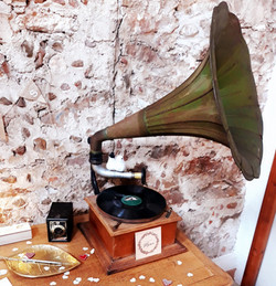 Gramophone vert mariage décoration