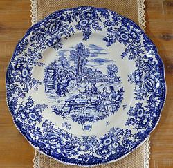 Assiette bleue pique-nique vintage