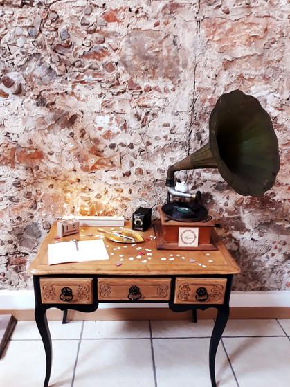 table gramophone musique mariage  décoration decoration mariage wedding evenement perpignan pyrenees orientales 66 vintage deco de lo