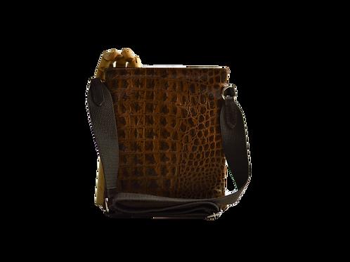 crossbody bag couro gravado croco