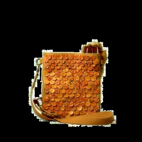 crossbody bag couro + pirarucu laranja
