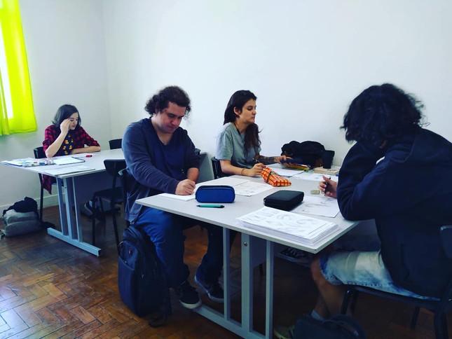 Aula do Curso de Desenho Fundamental / Mangá quarta feira - Daniel Bretas