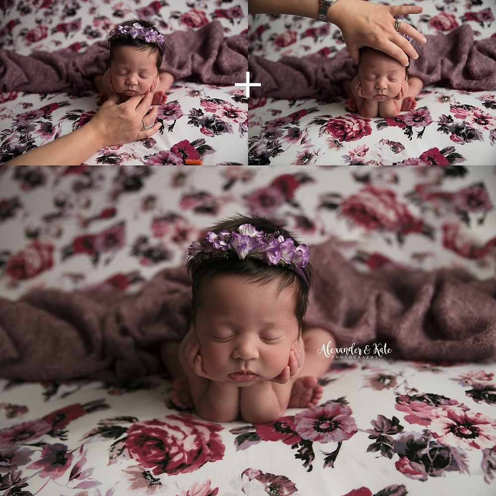 Example of a newborn froggy pose composite