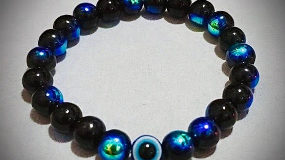 Evil Eye & Peacock Iridescent Glass Bead Bracelet