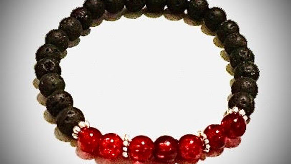 Lava & Glass Bead Bracelet