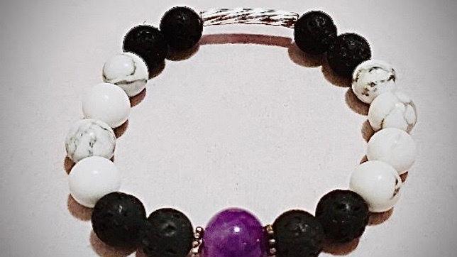 Amethyst, Lava, & Howlite Bracelet