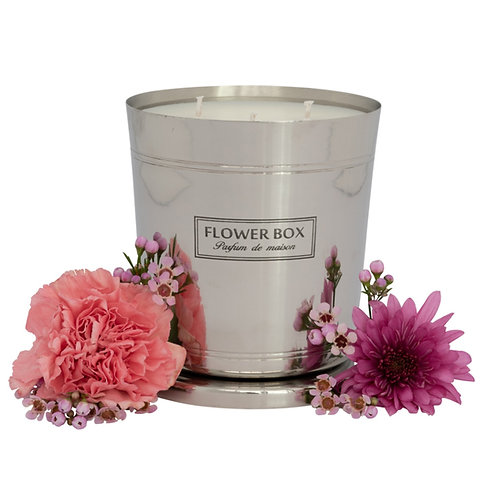 Pink Flowers - 1kg Silver Candle
