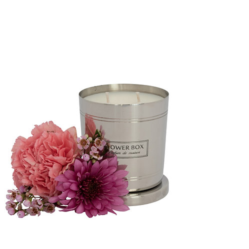 Pink Flowers - 290g Silver Candle