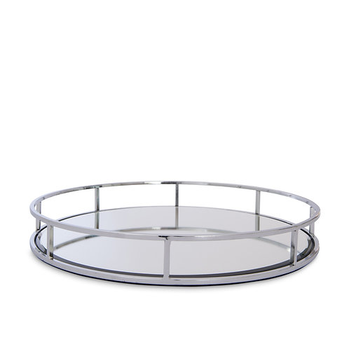 Round Mirrored Tray - Substantial