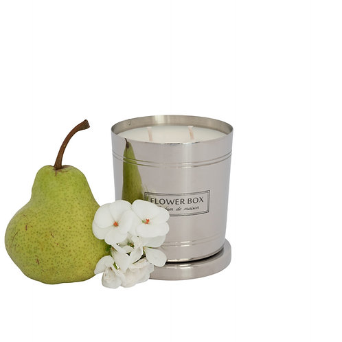 Flowers & Pear - 290g Silver Candle