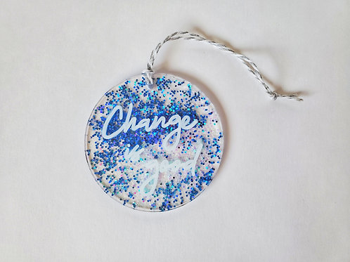 Blue and White Glitter, White Font