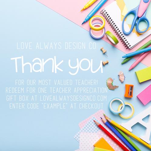 Teacher Appreciation Gift Box Certificate