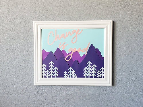 Change is Good Handmade Framed Paper Craft Wall Decor